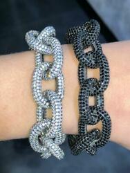 Black Gold Sterling Silver White And Black Sapphire Chunky Link Tennis Bracelet 7