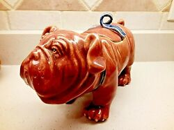 REDUCED VINTAGE PINK BULLDOG STATUE WITH LEASH HEAVY CERAMIC 12quot;L X 7quot;TX 5.5quot;W