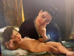 Mother And Child Museum Quality Masters Style Reproduction Oil Painting 24x36