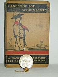 3pc 1938 Handbook Manual For Boy Scout Scoutmasters Brass Honor Coin And 25 Yr Pin