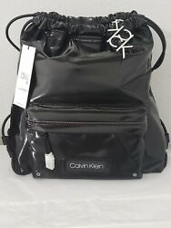 NWT♡Calvin Klein♡Nylon Backpack♡Drawstring Black Silver $50.00