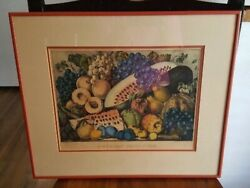 Nice Vintage Matted And Framed Currier And Ives Print American Fruit