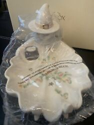 Lenox Occasional Halloween Witch Fall Leaves Ivory Porcelain Candy Dish Bowl