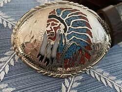 Silver Engraved Inlaid Buckle Indian Chief Head Dress Ssi 88 Vtg Leather Belt 34