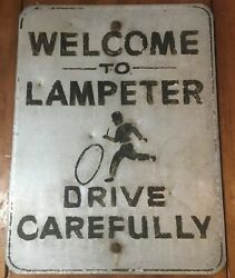 Antique Road Sign Welcome To Lampeter Drive Carefully Running Child Two Sided Pa