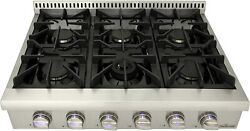 Thor Kitchen Pro-style Gas Rangetop With 6 Sealed Burners 36 Cooktop Stainless