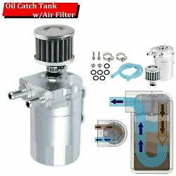 Cylinder Aluminum Engine Oil Catch Tank/can Reservoir Breather + Filter Silver