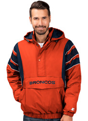 Denver Broncos Mens Starter The Impact 1/2 Zip Hooded Pullover Jacket - Xxl And Xl