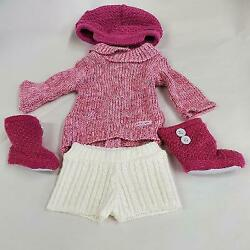 American Girl Doll Clothes Knit Outfit Pink Hatbootssweater And White Shorts
