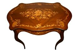 Spectacular Antique Inlaid Mahogany Turtle Top Accent Table W/mother Of Pearl
