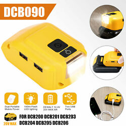 Dual Usb Power Source Li-ion Battery Charger Adapter Dcb090 For Dewalt With Led