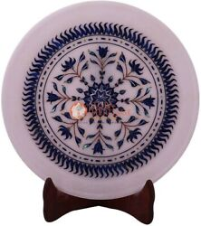 10 White Collectible Unique Round Desk Plate Lapis Inlay Italian Veterans Gifts