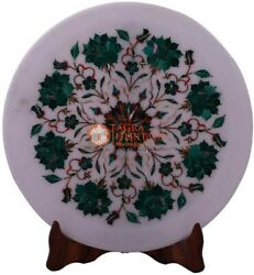 12 Marble Collectible Plate Malachite Inlay Marquetry Floral Art Veterans Gifts