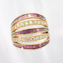 [used] K18 Diamond Pink Shell Ring Us Size7.5-8 [g344-4]