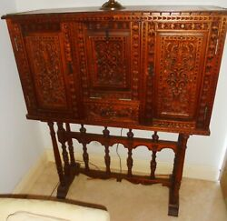 Genuine Peruvian Wood Carved Chest On Table Stand
