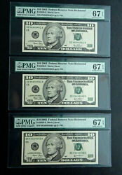 10 2003 X3 Pmg 67 Near Solid 4and039s Consecutive Serial 4444444123 Richmond Fancy