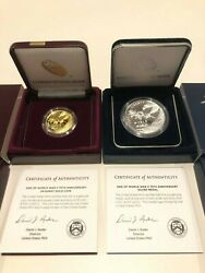 End Of World War Ii 75th Anniversary 24-k Gold Coin And Silver Medal In Hand
