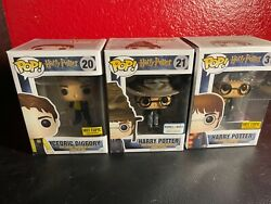 Funko Pop Lot Cedric Diggory 20, Harry Potter With Hat 21, And Hp With Hedwig 31