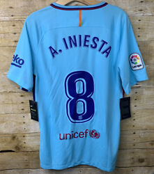 2017/18 Nike Barcelona Authentic Away Jersey 8 Andres Iniesta Small Soccer Fcb