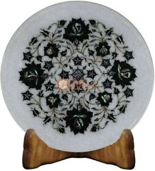 12 Marble White Collectible Dish Plate Black Z Inlay Floral Art Christmas Gifts