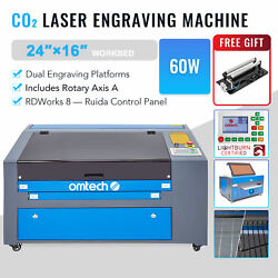 Co2 Laser Engraver Cutter 60w 24x1660x40cm With Cylinder Rotary Attachment