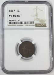 1867 1c Indian Head Cent Ngc Vg25 Bn T