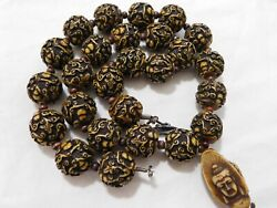 Vintage Asian Buddha 3 Head Beaded Lucite Sterling Clasp Necklace 25
