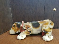 Vintage Fisher Price Snoopy Dog Pull Toy 181 Wood Toy Beagle 1961