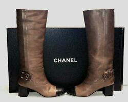 Brown Leather Black Cap Toe Under The Knee Buckle Boots Italy 39