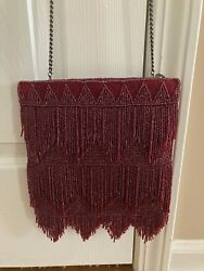 Mary Frances Wine Flapper Fringe Bead Crossbody Bag W/dust Cover Valentines Day