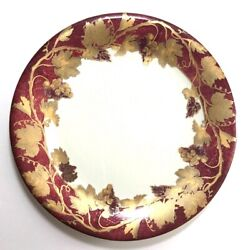Set 12 Crate And Barrel Volante Salad Plates Burgundy Gold Grape Leaves Italy