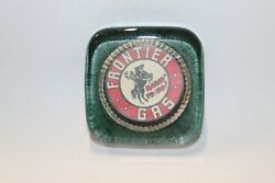 Vintage 1940s Frontier Gas Rarin To Go Advertising Logo Glass Paper Weight