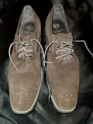 Mkp By Mikekonos Men Brown Suede Dress Shoes Made In Italy Size/10 Oxford Style