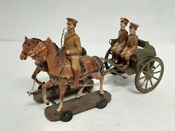 Vintage Elastolin Toy Soldiers W/ Tin Metal Trailer Ww1 Horses 9 Composition