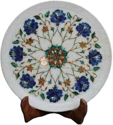 12 Marvulesh Round Dining Plate Lapis Marquetry Floral Precious Columbus Gift