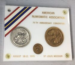 1970 American Numismatic 79th Anniversary Convention Silver/bronze 3 Coin Set