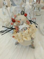 Bethany Lowe Style Snowman Ornament Victorian Lace Shabby Prisms
