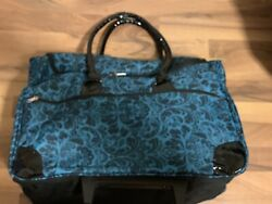 Black amp; Turquoise ROLLING TOTE Under Seat Overnight Luggage from ULTA BNWT $19.99