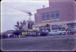 Mobil Gas Helicopter 35mm Slide American Flag Cars Magnolia Galveston Texas