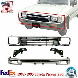 Front Bumper Chrome + Grille + Bracket Kit For 1992-95 Toyota Pickup Truck 2wd