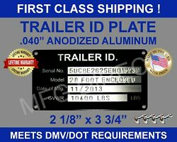 Stamped Trailer Tag Vin Id Plate Data Serial Model Number Identification New