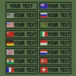 Custom Military Name Embroidery Patch Army Green Patches Us Brazil France Spain