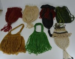 Lot Of 7 Antique Victorian Era Crocheted Hand-beaded Drawstring Purse Bags