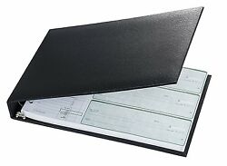 7-ring 3-on-a-page Business Check Book Binder - Black New