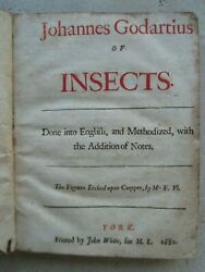 Lister / Goedaert Of Insects York 1682. Tirage Andagrave 150 Ex. 14 Planches.