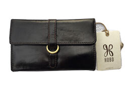 NWT $98 HOBO International Vinn Vintage Hide Trifold Wallet in Black $53.00