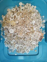 Lot Of Vintage Buttons 4 Lbs Of Plastic White And Mother Of Pearl Shell Antiques
