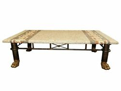 1490-501 Maitland Smith Mosaic Top Iron And Brass Coffee Table