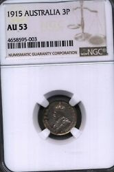 1915 Australia 3 Pence Ngc Au 53 Silver Currency Money Coin George V