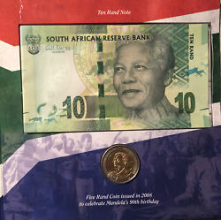 South Africa–5 Rand Coin Ana 10 Rand Note 2008 Mandela 90th Anniversary Jz